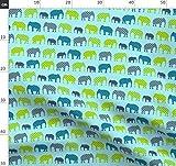 Laurie Wisbrun, Elefant, Modern, Baby, Blau, Grün, Junge