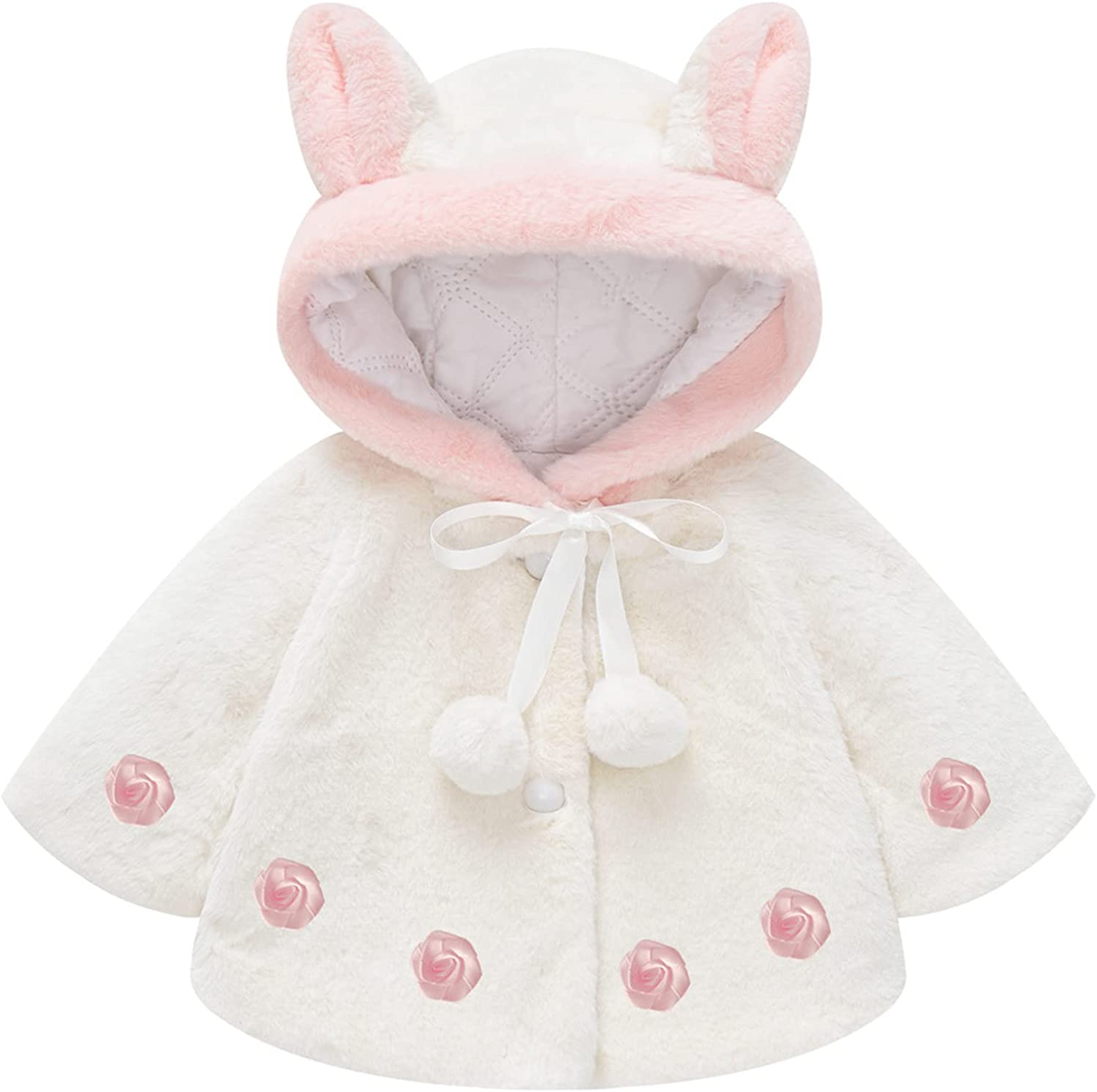 Toddler Infant Baby Boys Girls Cloak Coat Clothes Hooded Flannel Shawl Cute