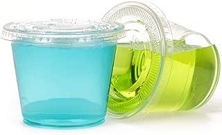 GOLDEN APPLE, 5.5-Ounce 50sets Clear Plastic Jello Shot Souffle Cups with Lids, Souffle Cups, Condiment Cups, Parfait Cups, Dessert Cups,