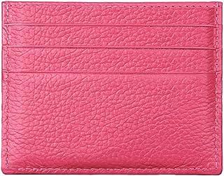 Hibate (Rosa-Rossa) Uomo Donna Porta carte di credito Portafoglio sottile in pelle Blocco RFID Blocking Credit Card Holder...