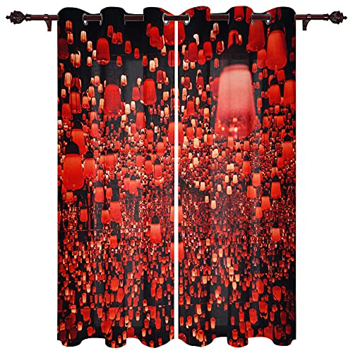 QPCGRA Cortinas Opacas Linterna roja Negra 140x215cm x2 Salón Térmica Aislante y Ruido para Ventanas con Ojales,Térmicas Aislantes para Dormitorio Moderno