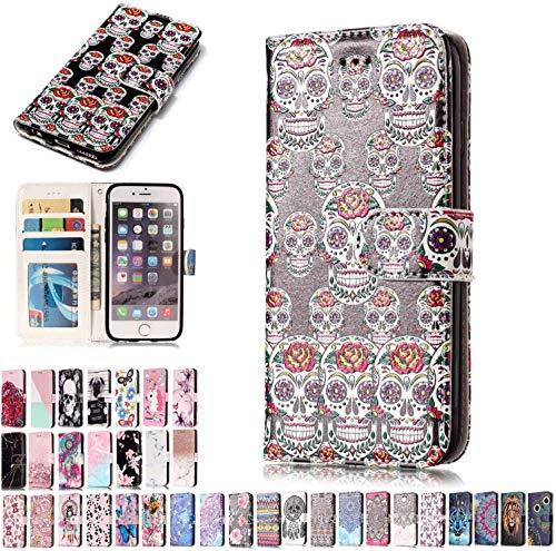 LA-Otter Handyhüllen für Huawei Honor 9 Lite Hülle Leder Skelett Blume Cover Flip Hülle Tasche Etui mit Kartenfach Schutzhülle Klapphülle