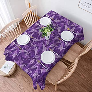 Anmaseven Violet Decorative Tablecloth Abstract Exotic Tulip Flower 54x78 Inches Table Cover for Thanks Giving Dinners