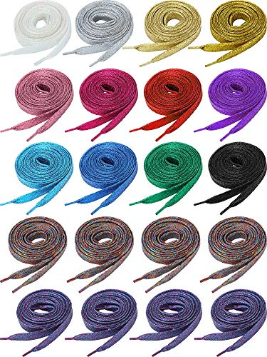 20 Pairs Glitter Flat Shoelaces Solid Colors Shoe Laces Replacement for Team Sneakers (47 Inch)