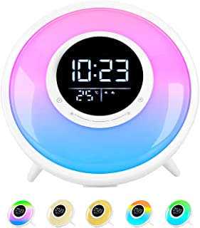 All -in-One Wake Up Light Alarm Clock with FM Radio, White Noise Sound Machine,Sleep Timer,10 Color Night Light & 23 Soothing Sounds