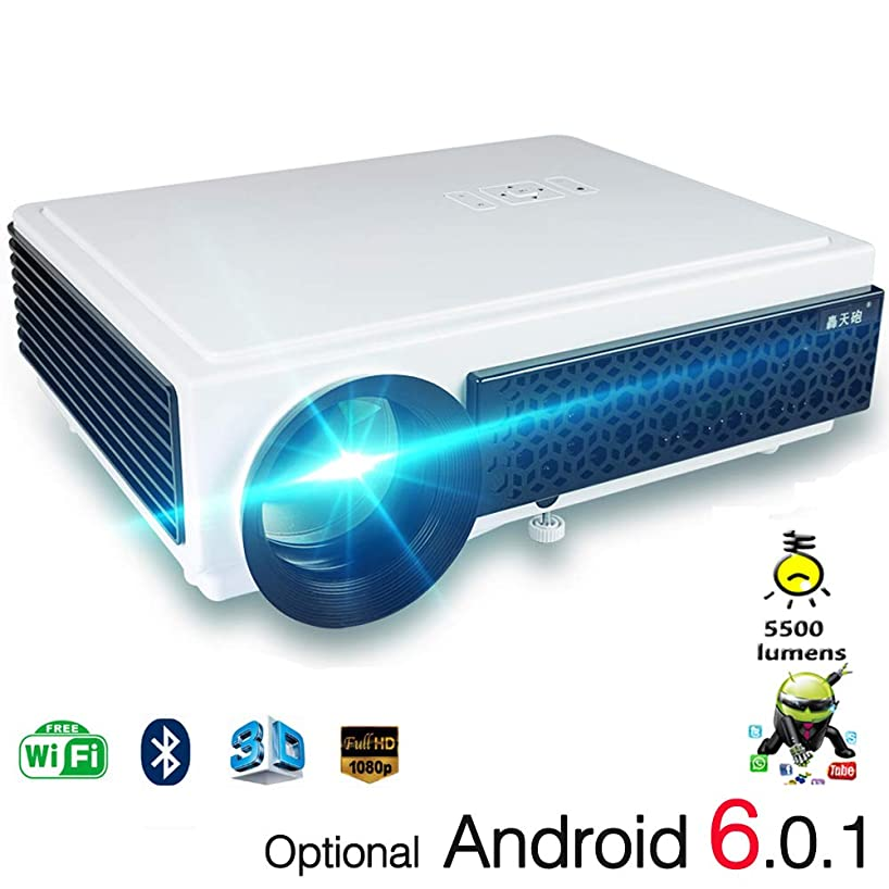 ILYO 1080p Projector, Wi-Fi Android6.0 Projector LED 3D Bluetooth Player Interface AV/USB/SD Card/HDMI Family Party Game Entertainment