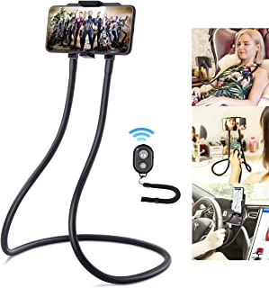 Upgrade Phone Holder for Bed, B-Land Neck Phone Holder Gooseneck Cell Phone Holders, Universal Mobile Phone Stand with Remote for Taking Videos & Group Photos (Black)