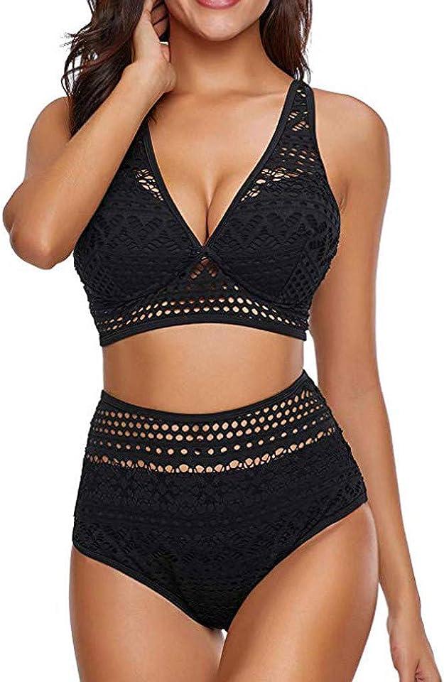 Bikini Damen High Waist Bikini Mädchen, Bikini-Sets für Damen, Zweiteilige Neckholder Retro Bademode Sexy Pool Badeanzug Strandkleidung(S/M/L/XL,#A-Blau)