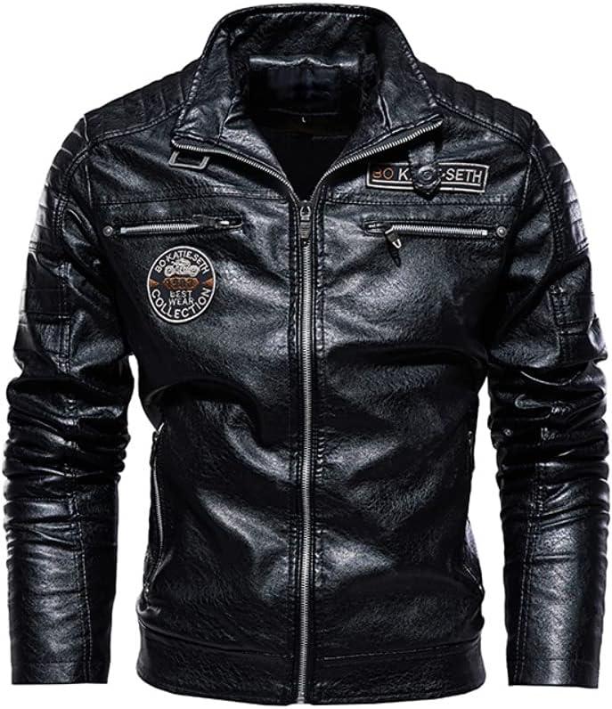 ONSEBCDRS Men Winter Fleece Motorcycle PU Leahter Jacket Male Collar Casual Windbreaker