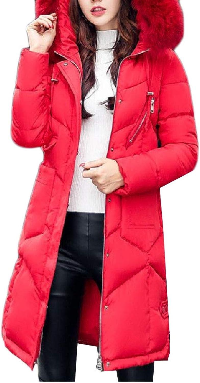 Abetteric Women Outwear Cotton Wadded Jacket FauxFur Trim Leisure Topcoat