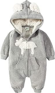 ALLAIBB Toddler Unisex Babies Autumn&Winter Romper Cute Elk Print Hooded Zipper Jumpsuit