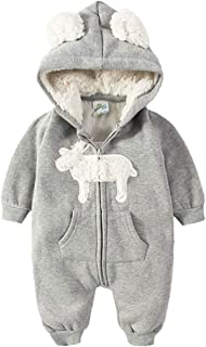 ALLAIBB Toddler Unisex Babies Autumn&Winter Romper Cute Elk Print Hooded Zipper Jumpsuit