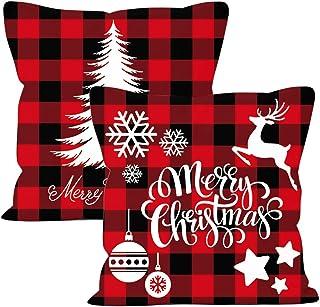 JAHEMU Navidad Fundas para Cojines 2 PCS Árbol de Navidad Reno del Copo de Nieve Decoración para el Hogar Fundas de Almohada de Lino Funda (Rojo, 45 * 45cm)