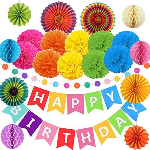 FOGAWA Decoracion de Cumpleaños de Fiesta 10 Pompones de Papel Seda 1 Guirnalda Feliz Cumpleaños 6 Abanicos de...