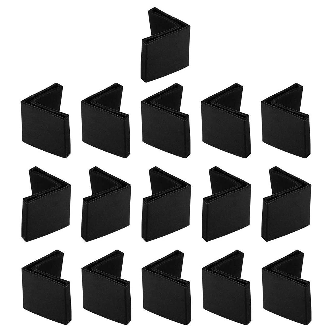 ギターくさび出くわすuxcell アングル家具の脚パッド 床プロテクター L状 PVC製 50mmx50mm ブラック 16個入
