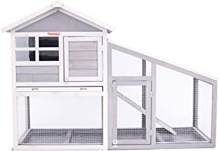 TRADGO Rabbit Hutch Outdoor Rabbit Cage with Run, 57'' Small Animal Cage Pet Crates with Pull Out Tray for Bunny