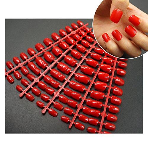 120 Pcs Red False Nail Tips Full Cover Short Stiletto Fake Nails Acrylic Gel Press on Nail