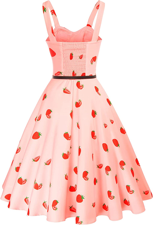 Belle Poque Women Sweetheart Neck Floral Dresses 1950s Sleeveless Vintage Swing Dresses with Belt