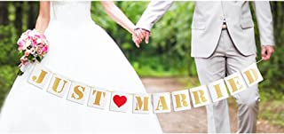 TMYSP Just Married Wedding Party Banner Decorations Garland Bunting Burlap Card Board White Gold Signs Bridal Shower Bachelorette Party Photo Props