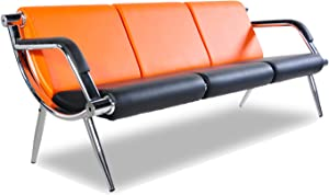 Bestmart INC 3-Seat Office Reception Sofa Waiting Room Bench Visitor Guest Sofa Airport Clinic Seat (Orange)
