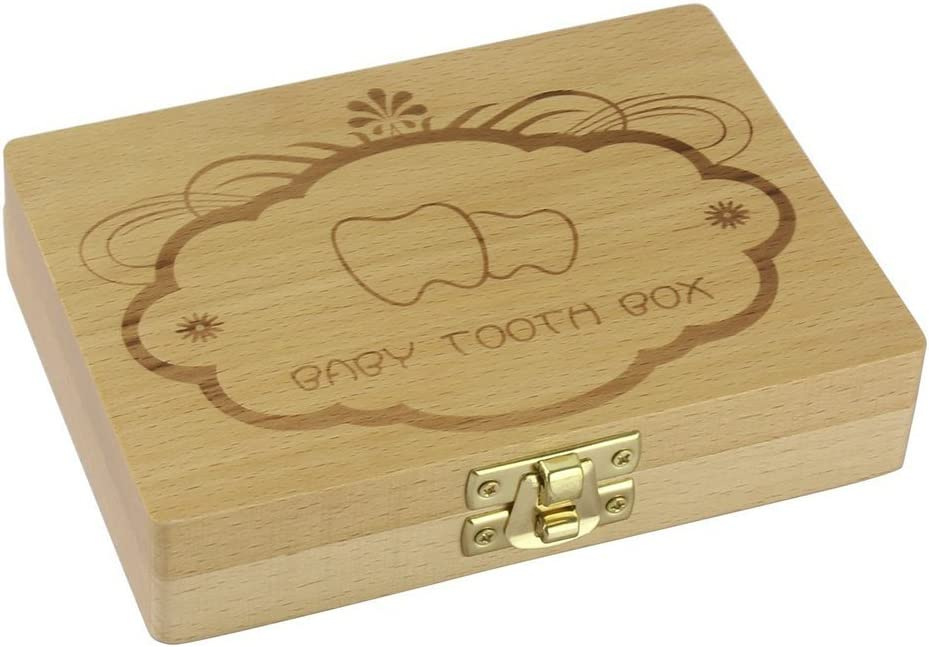 LAAT Creative Discount mail order Lovely Baby Teeth Box Storag Wooden Surprise price Tooth Handmade