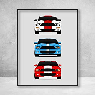 Shelby Mustang GT500 Generations Poster Print Wall Art of the History and Evolution of the Modern Ford Shelby GT500