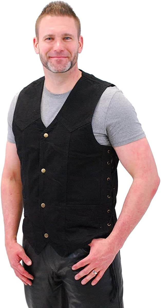 Jamin' Leather - Side Lace Black Denim Vest w/CCW Pockets #VMC1315LK