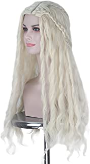 Miss U Hair Long Fluffy Curly Platinum Blonde with Two Braids Women Cosplay Costume Wig Halloween