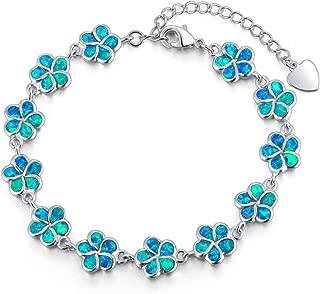 Adjustable Tennis Bracelet-Oval or Flower Shape White Gold/Sterling Silver Plated Opal Bracelet for Women Girls Gemstone Bracelets