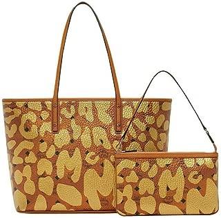 MCM Women's Copper/Gold Coated Canvas Leopard Print Tote Bag MWP8AVI95CO001