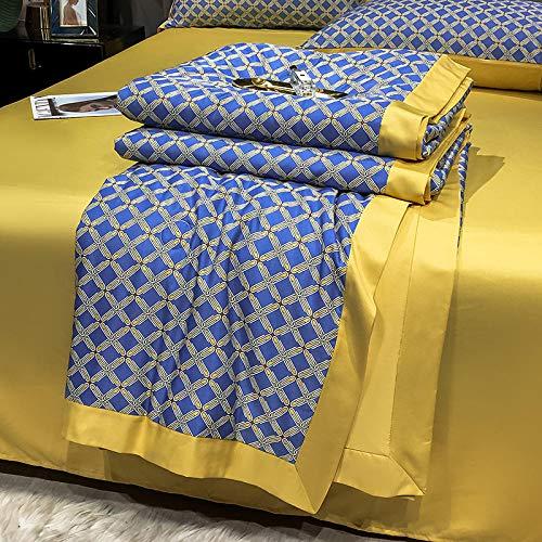 Relleno de edredón de fibra sintética,El aire acondicionado es tan fresco por cuatro conjuntos de verano, lavado de máquinas, corbata, doble descubierta, colcha delgada de verano-Conjuntos de 180x220