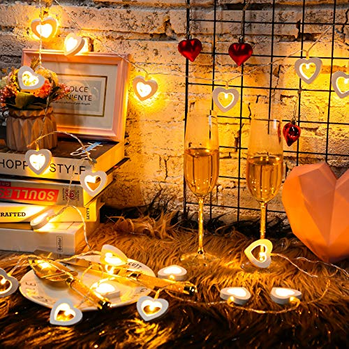 20 LED Fairy Lights Valentine's Day Wooden Heart Lights Hanging Wooden Love Lights String Lamp Battery Operated Valentine's Day Decorations Light for Garden Bedroom Festival Birthday Wedding (White)