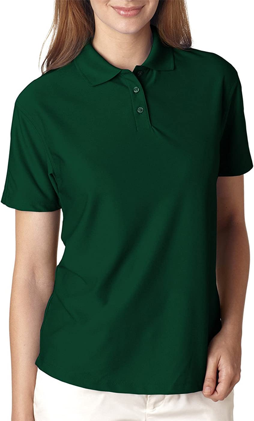 UltraClub Women's Cool & Dry Elite Polo Shirt, FOREST GREEN, Large