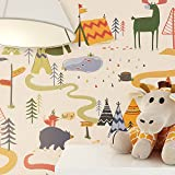 NEWROOM Kindertapete Beige Elch Zelte Kinder Papiertapete bunt Papier Kindertapete Kinderzimmer Babytapete Babyzimmer Niedlich