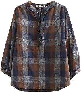 IXIMO Women's V Neck Check Blouse 3/4 Sleeve Cotton Casaul Tops Shirts