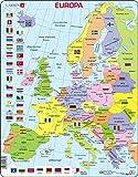 Larsen K2 Mapa político de Europa, edición en Alemán, Puzzle de Marco con 48 Piezas