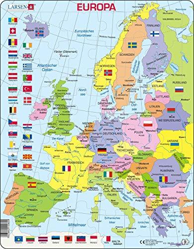Larsen K2 Politische Karte Europas, Deutsch Ausgabe, Rahmenpuzzle mit 48 Teilen