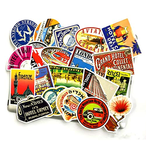 Vintage Stamp Style Famous Hotel Stickers Norepeat para Pad Phone Case Laptop...