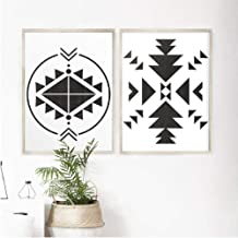 JRTF Black White Aztec Pattern Print Tribal Aztec Decor Tribal Wall Art Aztec Motif Canvas Painting Rustic Wall Picture Home Decor-60X80Cm Frameless