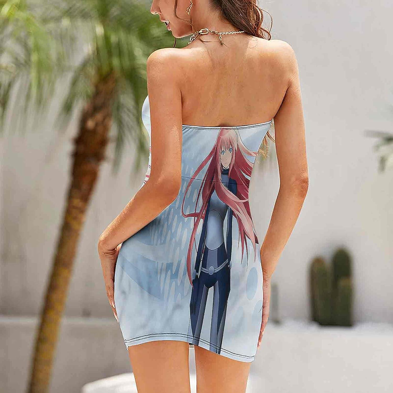 Women's Tube Top Beach Mini Dress Digital Futuristic Style Dresses