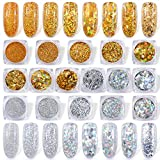 Spearlcable Holographic Nail Glitter 16 Boxes Nails Powder Nail Art Sequins Holo Shining Flakes Gold Silver Chunky Glitter Set Decals for Face Eyes Body Hair DIY Nail Art (pattern1)