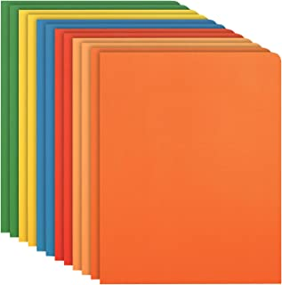 SKYDUE 12 Two-Pocket Folders, Letter Size, Assorted 6 Colors, Twin-Pocket Folders with Textured Paper, Design for Office or Classroom Use
