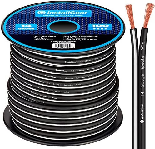 InstallGear 14 Gauge AWG 100ft Speaker Wire True Spec and Soft Touch Cable - Black