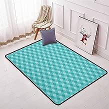 Damask Children's Bedroom Carpet Soft Tones Little Blooms Ancient European Art Elements Symmetric Floral Pattern Soft Fluffy W47.2 x L71 Inch Turquoise White