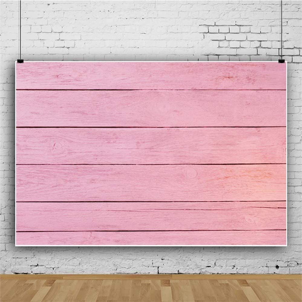 Leowefowa 12x8ft Rustic Latercal-Cut Faded Pink Wood Board Backdrop Vinyl Wood Plank Photography Background Child Adult Portrait Shoot Themed Birthday Baby Shower Party Banner Studio Photo Props