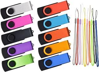8GB USB 2.0 Flash Drive - Bulk 10 Pack Thumb Drives - Kepmem Swivel Multicoloured Memory Sticks with 10pcs Ropes