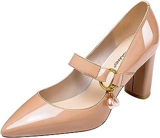YIXIN ZLSD18C036春と秋のファッションソリッドカラー メタルバックル 粗い 靴のかかと 浅い 口 レディースハイヒール (サイズ さいず : EU36/UK3.5/CN35)