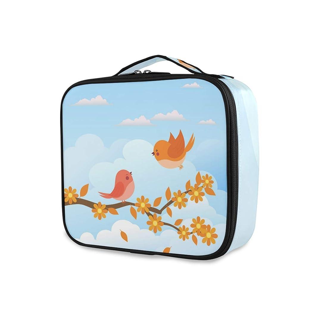 しなやかな晴れ旋律的メイクボックス 鳥 かわいい 空 大容量 収納 仕切り付き 収納ケース 機能性 小物入れ 旅行 通勤 化粧道具 高品質 メイク収納 整理 持ち運び