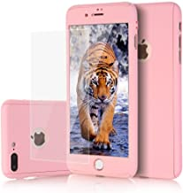 iPhone 8 plus Case, iPhone 7 plus Case, KMISS 2 in 1 Ultra Thin Full Body Protection Hard Premium Luxury Cover [Slim Fit] Shock Absorption Skid-proof PC case for Apple iPhone 7/8 Plus (Pink)