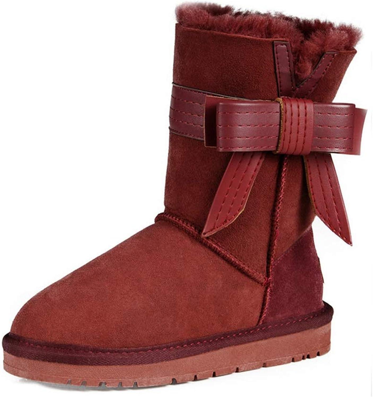 T -JULY -JULY -JULY Style Sheepslin Winter Snow stövlar Kvinnlig Genuine läder Wooler Shearling Winter Footwear Mid Calf stövlar Kvinna  onlinebutik